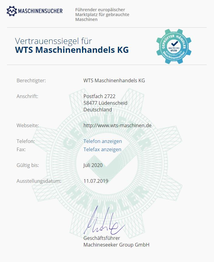 Maschinensucher - WTS Msaschinen